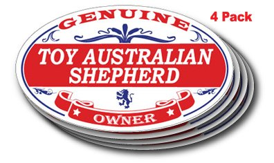 (TOY AUSTRALIAN SHEPHERD Oval Sticker - 4 pack)