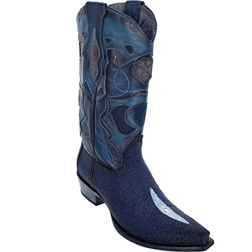 Original Navy Blue Single Pearl Stingray Leather Snip-Toe Boot