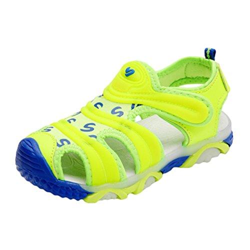 YiLianDa Kinder Geschlossene Sandalen Bequeme Kinderschuhe Sport Outdoor Sandalen Jungen Grün