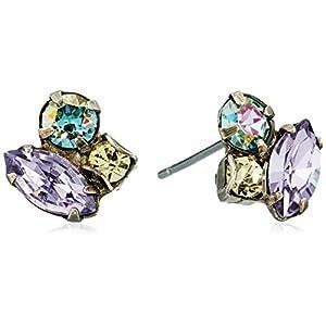 Sorrelli Women's Three's Company Stud Earrings, Purple, 0.5