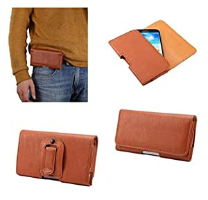 DFV mobile - Case synthetic leather horizontal belt clip for => Coolpad 8970L > Brown