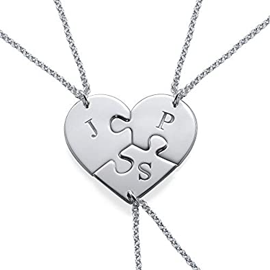 4c5bcce321c4a Amazon.com: Puzzle Piece Necklace for Three with Initial in Sterling ...