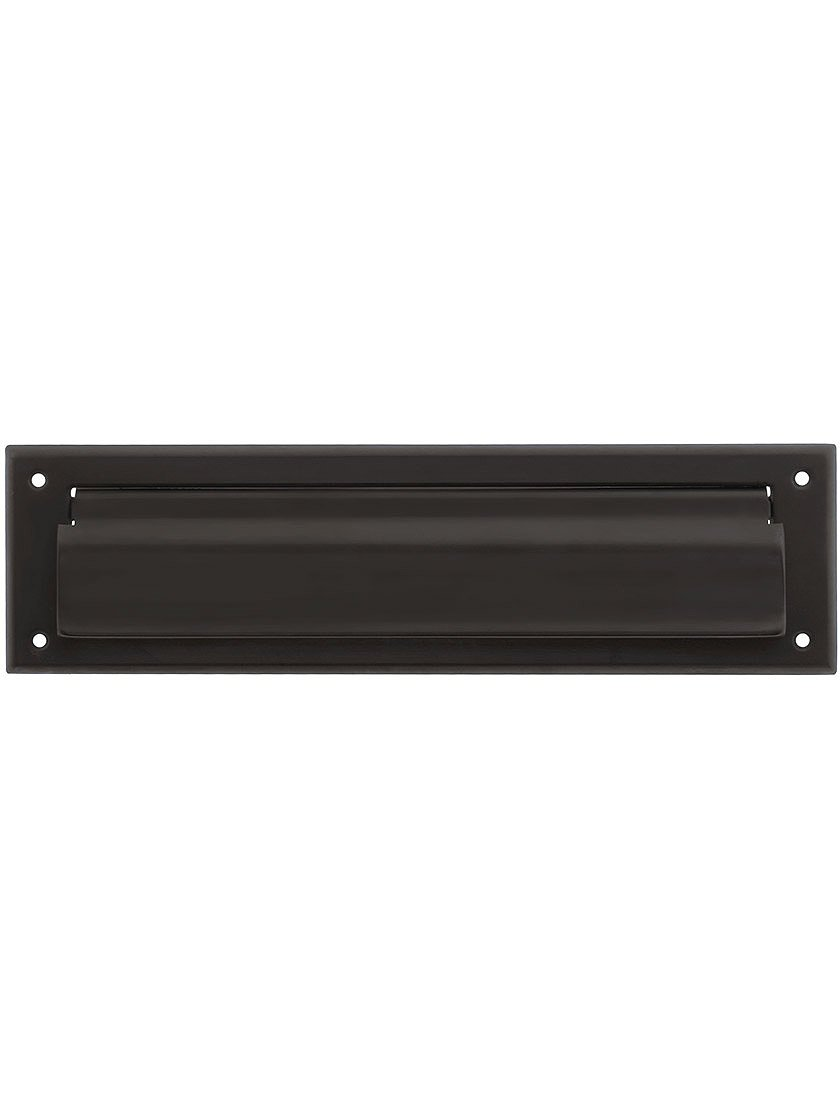 Solid Brass Magazine Size Mail Slot Front for Exterior Mounting in Oil-Rubbed Bronze.