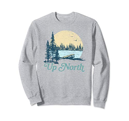 - Up North Vintage Lake Sunset Pine Tree Retro Rustic Cabin Sweatshirt
