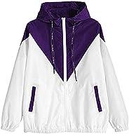 CofeeMO Womens Plus Size Long Sleeve Zipper Patchwork Thin Sport Coat Hooded Fall Lightweight Jacket Fashion