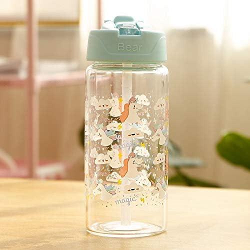 Botella De Agua De Vidrio De Unicornio Para Niños Con Pajitas Y Tapas Abatibles Para Niñas Fuga De Viaje Botella De Bebida A: Amazon.es: Hogar