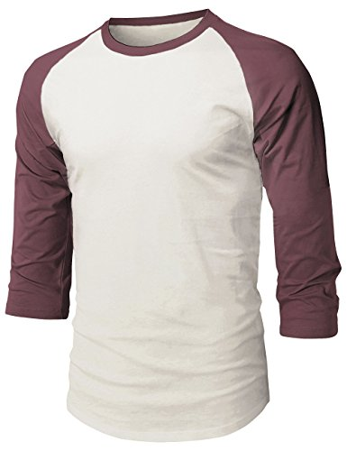 Hat and Beyond HC Mens Baseball Raglan 3/4 Sleeve T Shirts (Small, Vint White/Wine) 3/4 Sleeve Cotton Hat