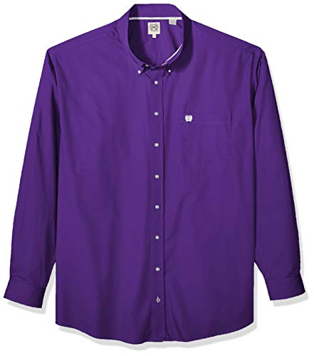 Cinch Men's Classic Fit Long Sleeve Button One Open Pocket Solid Basic, Purple, ()