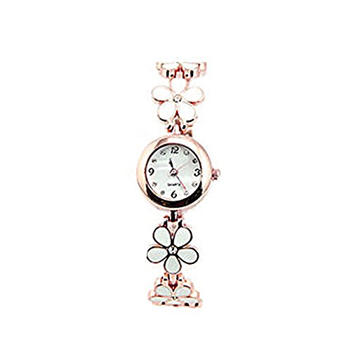 - Auntwhale Daisies Flower Bracelet Wrist Watches Chic Fashion Watches Elegant Crystal Decoration Bangle Watch Luxury Rhinestone Watch for Women Ladies Girl White