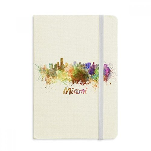 Miami Notebook - Miami America City Watercolor Notebook Fabric Hard Cover Classic Journal Diary A5