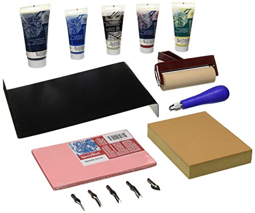 Kit Starter Ink (Speedball Deluxe Block Printing Kit - Includes Inks, Brayer, Bench Hook, Lino Handle and Cutters, Speedy-Carve Block, Mounted Linoleum Block)