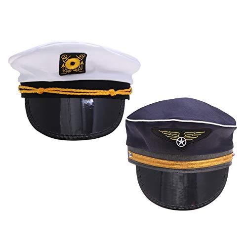 Amosfun 2PCS Captain Sailor Hat Captain Pilot Hat Party Hats Boat Sailing Fishing Captain Cap Flight Attendant Hat Halloween Costumes Children's Party Decoration]()