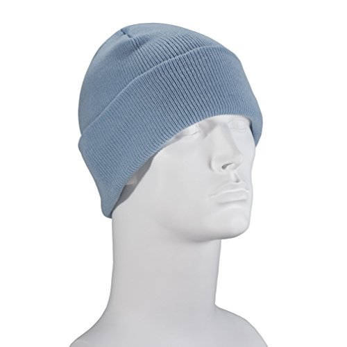 100% Soft Acrylic - Light Blue Single Piece Solid Color Beanie Classic Cuffed Winter Hat - Unisex Plain Skull Knit Cap - Made in USA