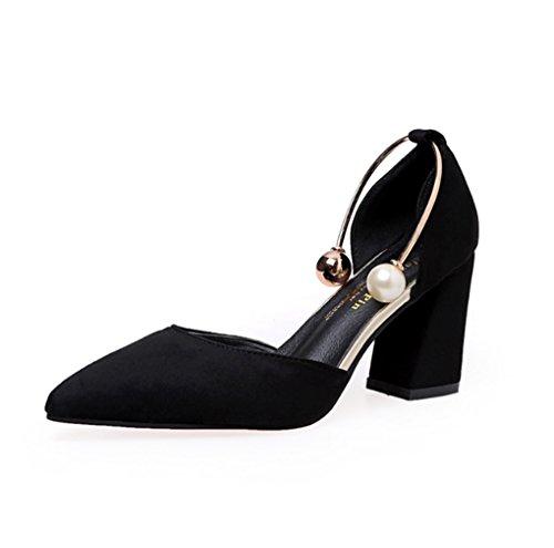 LBDX Mujer Coreana Sandalias Tacón Medio Negro Primavera Tacones Señaló Altos y de Verano Versión Tacón de de Zapatos Grueso rT5xgAnrqw