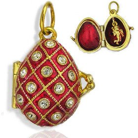 Eggs All Kinds Egg Locket Pendant with Angel Sterling Silver 925 Gold Plated 22kt Swarovsky Crystals ()