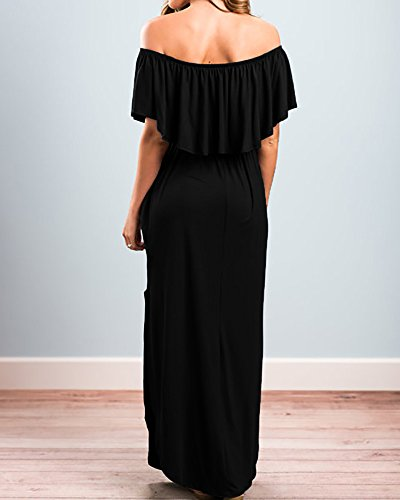 Split Maxi Gobought Side Shoulder Pockets Black Dress Ruffle Off with Swing Womens 8qXfU
