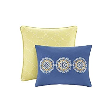 Blue 2 Shams Includes 1 Bed Queen Comforter Home Essence CS50-0307 Taya Set-5 Piece-Printed Medallions Pattern Size Yellow Grey 2 Decorative Pillow