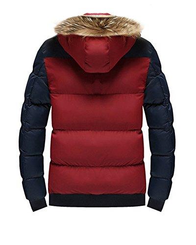 Ecologica Blu Laozan Giacca L Cappuccio Con Rosso Di Cappotto Pelliccia Invernale Uomo Cerniera 0T7rAq0