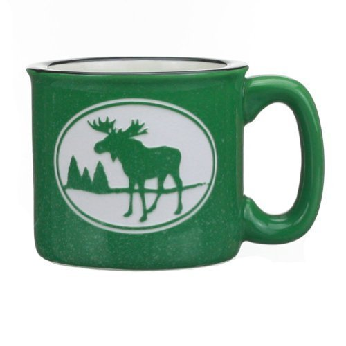Cape Shore Green Etched Moose 15 Ounce Coffee Tea Mug Cup