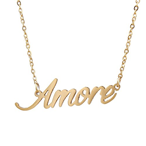 AOLO Handmade Gold Name Necklace Personal Pendant Collar, Amore