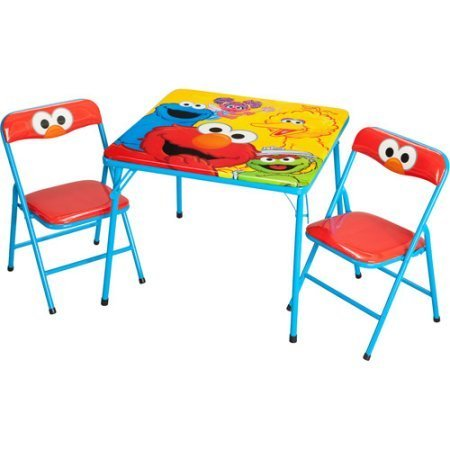Sesame Street Toddler/Kids Activity Table and Chairs Set, Red/Yellow
