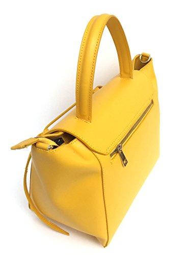 véritable Model Sac Laura SUPERFLYBAGS Jaune Italie main en Lisse en à cuir Fabriqué xXBqBwg6