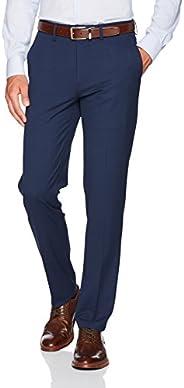 Haggar Mens J.m 4-Way Stretch Superflex Waist Slim Fit Flat Front Casual Pants