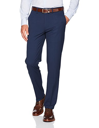 Haggar Men's J.M. Stretch Superflex Waist Slim Fit Flat Front Dress Pant, Blue, 33Wx32L