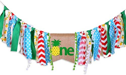 Sunnyillumine HighChair Banner for 1st Birthday of Girls or Boys - Summer Pineapple Theme First Birthday Decoration Banner for Photo Booth Props, Birthday Souvenir and Gifts, Best Party Supplies
