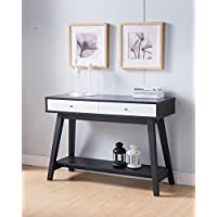 161620 Smart Home Faux Croc Black & Glossy White Sofa Console Table