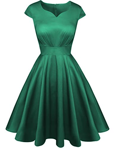 (Kingfancy Summer Cocktail Dress for Women, Vintage Sweetheart Neck Semi Formal Fit and Flare Midi Dress for Evening Party Army Green XS)