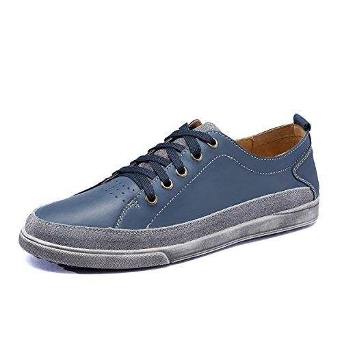 Do. bomrvii Herren Casual Premium Echt Leder Lace Up Flats Blau