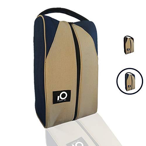 Golf Shoe Bag for Men Women, Deluxe Canvas Zipper Tote Large Travel Organizer, Basketball Soccer Gym Sport Gift Pack Set (Navy/Khaki)