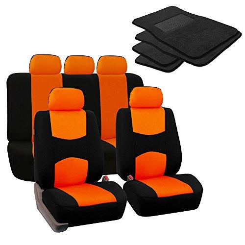 car mats black and orange - 2
