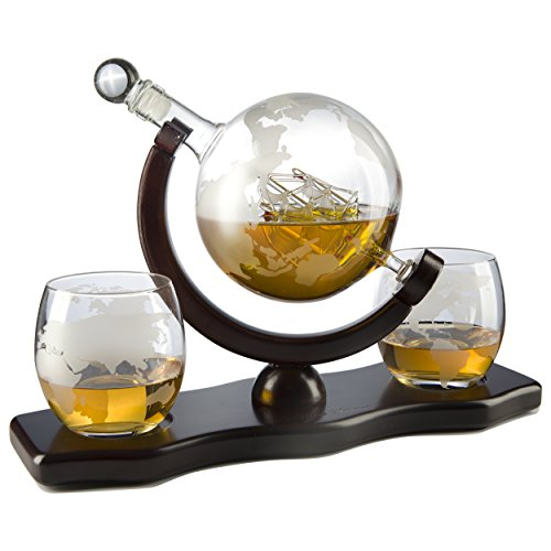 The Wine Savant World Decanter - With 2 Globe Glasses and Whiskey Stones For Whiskey or Wine With Antique Ship And Matching Globe Glasses (Mahogany Stained Wood), HOME BAR DECOR by The Wine Savant