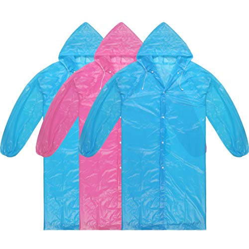 Dsteng Rain Poncho Adult Ponchos Reusable Raincoat 3 Pack NoPlasticSmell,LightWeightandPerfectforOutdoorActivities (2 Blue +1 Rose red)