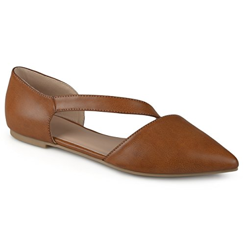 Journee Collection Womens Pointed Toe Cross Strap Flats Brown, 9 Regular US (Collection Strap Leather)