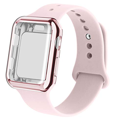 (RUOQINI Smartwatch Band with Case Compatiable for Apple Watch Band, Silicone Sport Band and TPU Case for Series 4/3/2/1,Pink Sand Band with Rose Pink Case in 38SM Size)