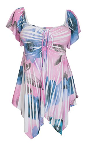 Sublimation V-neck Top - eVogues Plus Size Deep V-Neck Asymmetric Slimming Top Pink Sublimation Print 2-2X