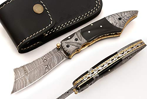 Custom made damascus blade one of a stunning folding knife 5163