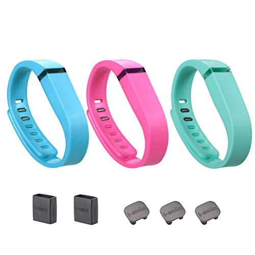cement Bands with Metal Clasps for Fitbit Flex / Wireless Activity Bracelet Sport Wristband / Fitbit Flex Bracelet Sport Arm Band (No tracker, Replacement Bands Only) & Silicon Fastener Ring For Free (Lake blueΠnk&Teal, Small) ()
