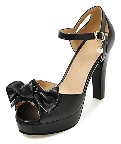 Aisun Womens Beaded Bowknot Buckled Peep Toe Dressy Chunky High Heel Platform Sandals Shoes With Ankle Strap  Black  9 B M  Us