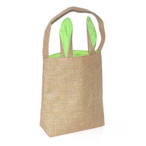 - Easter Egg Hunt Canvas Toy Storage, Rabbit Ear Cotton Storage Basket Nursery Hamper Laundry Basket Storage Bag (Green)