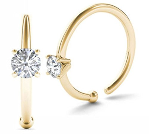 JewelMore 0.02ct Diamond Nose Ring Hoop - 14K White Gold or Yellow Gold (Yellow Gold)