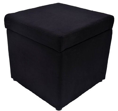 HomCom Square Microfiber Storage Ottoman – Black