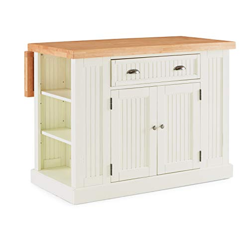 Home Styles 5022-94N Nantucket Kitchen Island W-48 , D-26 , H-36 Distressed White Natural
