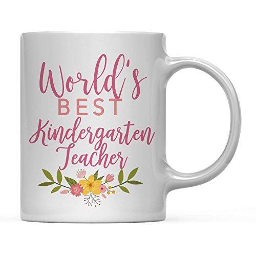 Andaz Press 11oz Coffee Mug Teacher Gag Gift, Floral Flowers Design, World's Best Kindergarten Teacher, 1-Pack, Funny Witty Coffee Cup Birthday Christmas Graduation Present Ideas for Her