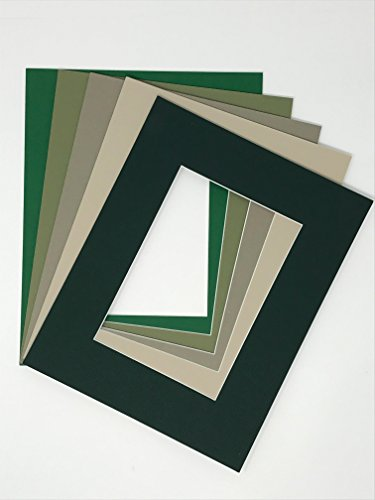 Pack of 10 8x10 Picture Mats, 5 Green Colors, with White Core Bevel Cut for 5x7 Pictures