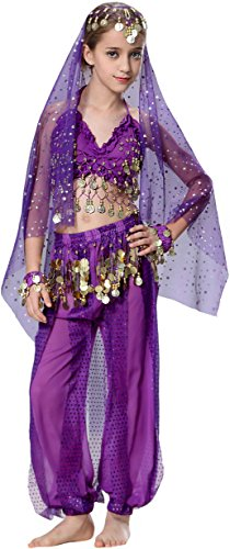 Fairycece Kid's Belly Dance Costumes Harem Spiral Pant Set School Show Outfit (Show Girl Outfits)