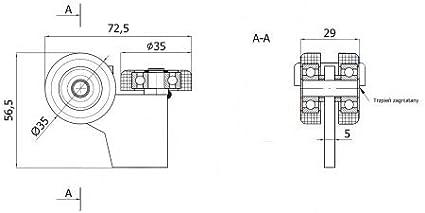 zabi puertas correderas (rollo carro con 3 ruedas de poliamida con plano hierro para perfiles 40 x 40 grosor 2 mm: Amazon.es: Bricolaje y herramientas